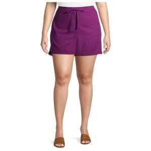 TERRA & SKY Ruffle Edge Shorts Purple